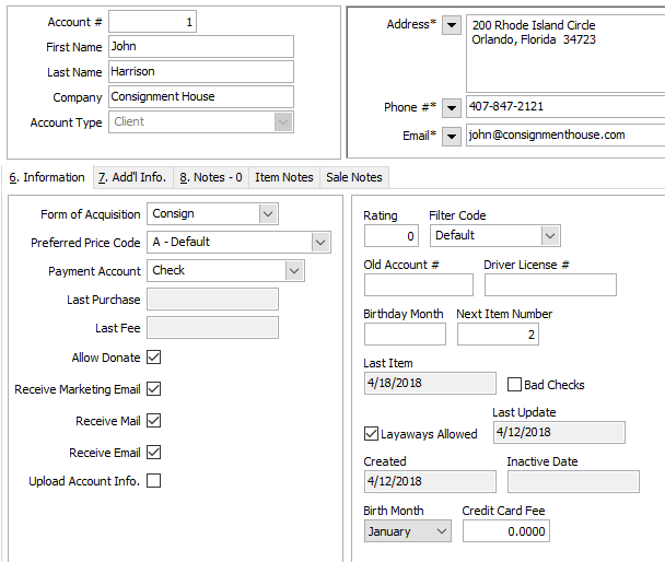 Account Management Screen